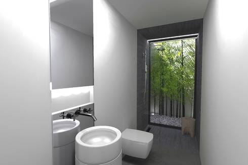 Casa J: Casas de banho minimalistas por Colectivo de Melhoramentos