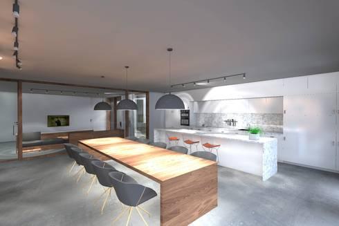 Casa ZL: Cozinhas minimalistas por Colectivo de Melhoramentos