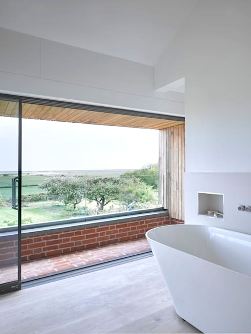 Upstairs bathroom at the house at Broad Street in Suffolk:  Bathroom by Nash Baker Architects Ltd
