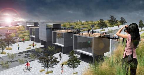 Puente con Comercios: Terrazas de estilo  por DIGARQ