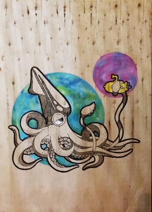 Cuadro Calamar, dibujo: Arte de estilo  por LM decoración