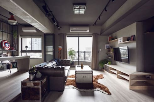 Estancia Industrial : Salas de estilo industrial por Espacio Singular