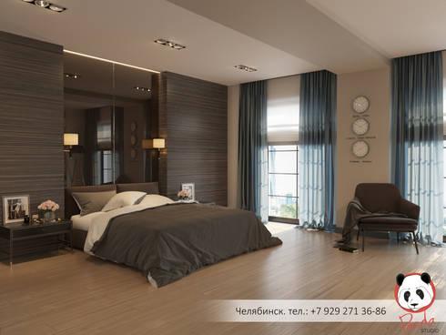 Modern bedroom with fireplace: modern Bedroom by Panda Studio