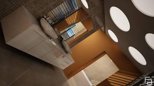 Moradia de dois pisos:   por Espaço FA – Arquitetura, Interiores e Decoração