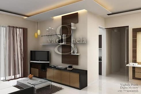 Living Room: modern Living room by Vaghela interiors