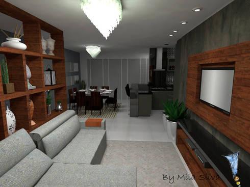 Sala e cozinha conjugada: Sala de estar  por Uma idéia confortável