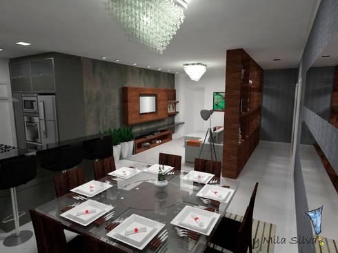 Sala e cozinha conjugada: Sala de jantar  por Uma idéia confortável