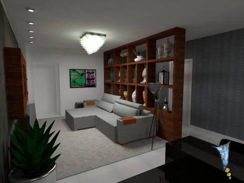 Sala e cozinha integrada: Sala de estar  por Uma idéia confortável