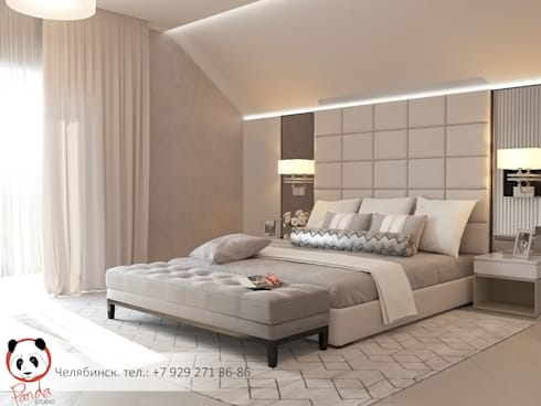Beige and grey bedroom: modern Bedroom by Panda Studio