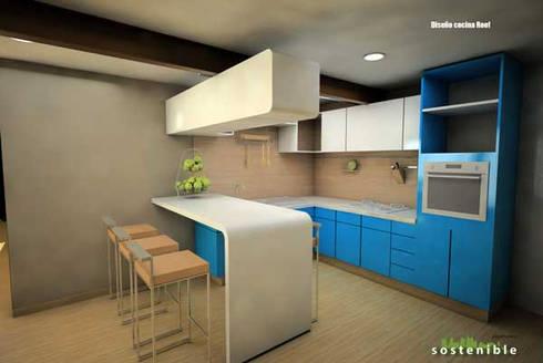 Departamento Colonia del Valle 2: Cocinas de estilo moderno por ARQUITECTURA SOSTENIBLE