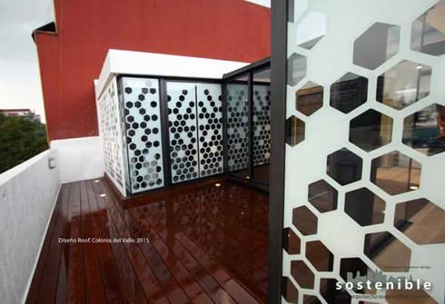 Departamento Colonia del Valle 2: Pasillos y recibidores de estilo  por ARQUITECTURA SOSTENIBLE