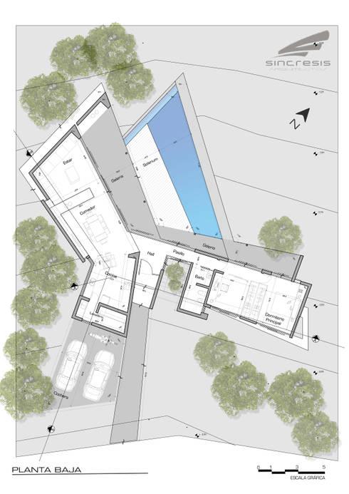 Vivienda SchV - Planta: Casas de estilo  por síncresis arquitectos