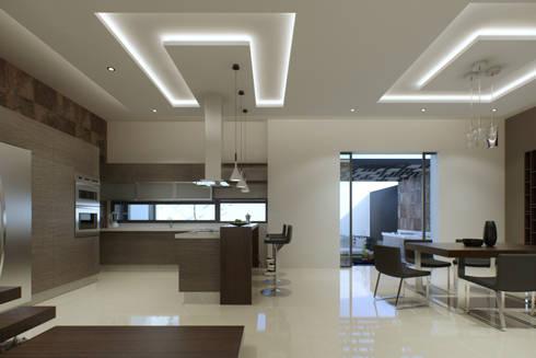 CASA BUGAMBILIAS: Cocinas de estilo minimalista por GYVA Studio