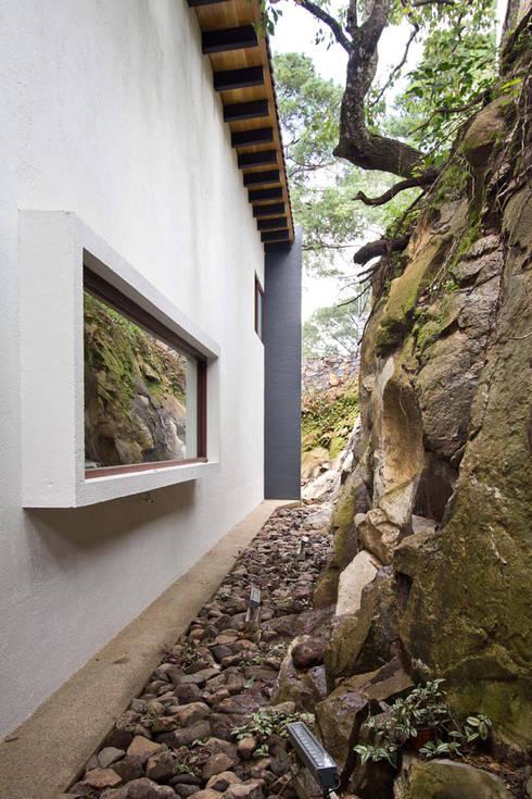 La casa en el bosque: Paredes de estilo  por EMA Espacio Multicultural de Arquitectura