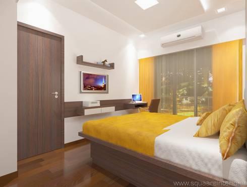 Rustomjee, Thane: modern Bedroom by suneil