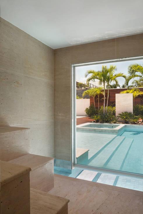 Residência Barra da Tijuca III: Spas modernos por Carmen Mouro - Arquitetura de Exteriores e Paisagismo