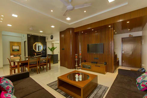 Abhiskhek's Appartment: modern Living room by P & D Associates