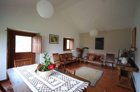 Reabilitação de Casa de Campo: Salas de estar rústicas por Borges de Macedo, Arquitectura.