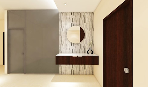 3 bedroom residential project Alkapuri, Hyderabad.: minimalistic Dining room by colourschemeinteriors