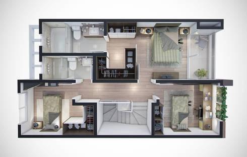 Planta humanizada 3D - pavimento superior: Casas minimalistas por studio vtx