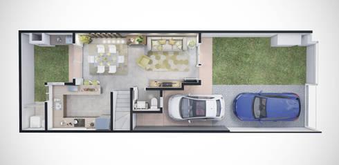 Planta humanizada 3D - pavimento térreo: Casas minimalistas por studio vtx