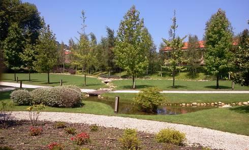 Quinta la Vega. Estanque: Jardines de estilo moderno de GreenerLand. Arquitectura Paisajista y Tematización
