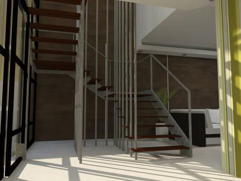 Escada Escultural: Salas de estar modernas por Studio 21