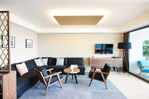 Penthouse, Zurich: modern Living room by Dyer-Smith Frey