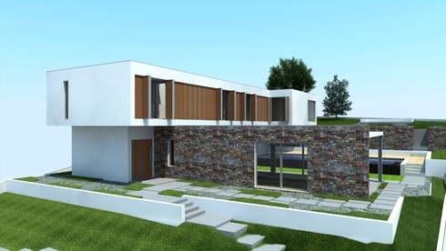 Alçado da Moradia: Casas modernas por Miguel Ferreira Arquitectos