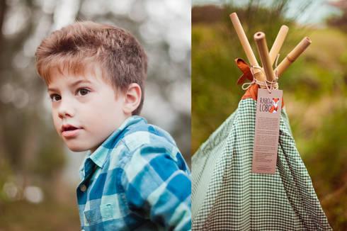 Teepee Xadrez Verde: Quarto de crianças  por Rabo de Lobo