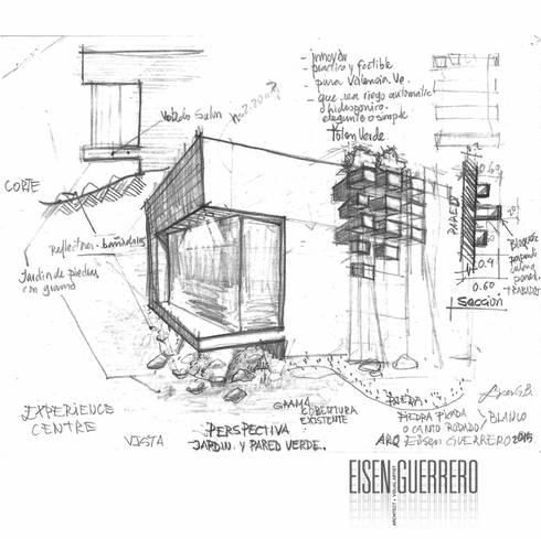 Boceto y Diseño de la Pared Verde adosada.: Jardines de estilo minimalista por Eisen Arquitecto