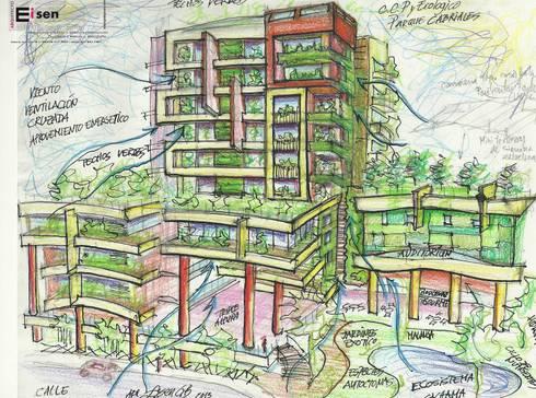 Boceto análisis de ventilación cruzada. : Casas de estilo moderno por Eisen Arquitecto