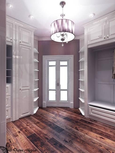 Проект спальни с гардеробной в частном коттедже: Гардеробные в . Автор – Your royal design