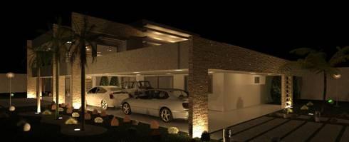 Risque Projetos: Casa Moderna - Iluminação: Casas modernas por RISQUE PROJETOS E ARQUITETURA
