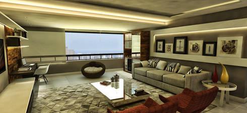 Apartamento - Ed. Palazzo Reale - Salvador/BA: Salas de estar modernas por Arquitetura do Brasil