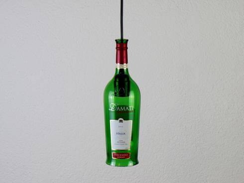 Upcycling Lampe, Vintage Hängelampe aus einer Weinflasche, Shabby ...