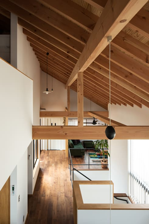 ロフト階段からリビング方向を見る: 藤森大作建築設計事務所が手掛けたリビングです。
