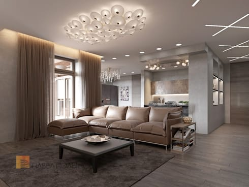 Интерьер квартиры в стиле минимализм, 165 кв.м.: Гостиная в . Автор - Студия Павла Полынова