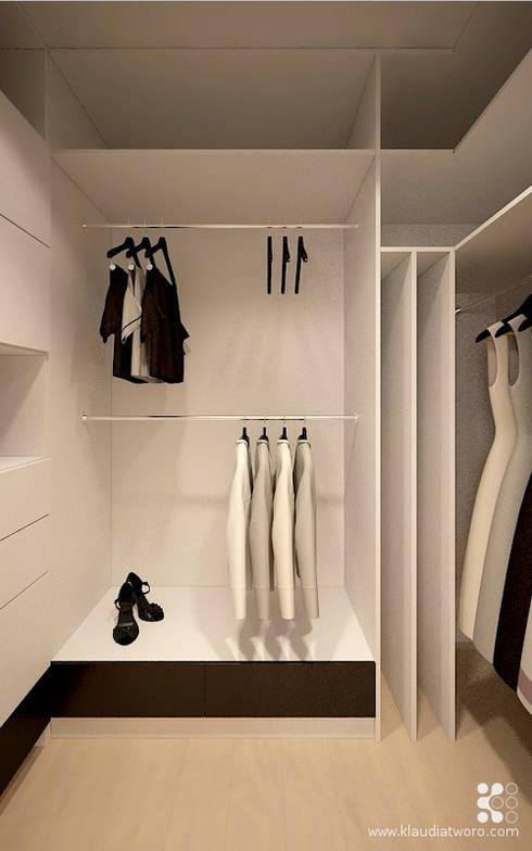 MIESZKANIE Z GRAFIKĄ KLIMTA: styl , w kategorii Garderoba zaprojektowany przez Klaudia Tworo Projektowanie Wnętrz Sp. z o.o.