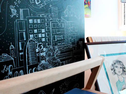 Ilustracion en tiza: Tiendas y espacios comerciales de estilo  por RL+N Arquitectura