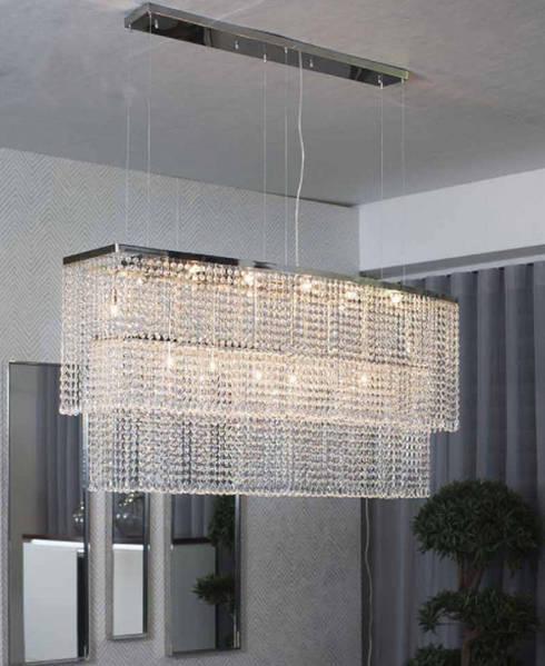 Iluminação Lighting www.intense-mobiliario.com Candeeiro de Teto Oleber http://intense-mobiliario.com/product.php?id_product=9369: Sala de jantar  por Intense mobiliário e interiores;