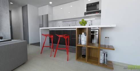imagen 3d barra cocina: Cocinas de estilo moderno por TRESD ARQUITECTURA Y CONSTRUCCIÓN DE ESPACIOS