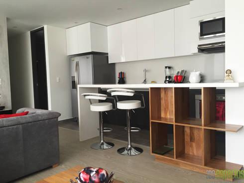 Apartamento 82 mts: Cocinas de estilo moderno por TRESD ARQUITECTURA Y CONSTRUCCIÓN DE ESPACIOS