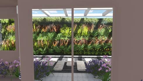 Vista da sala de estar: Jardins modernos por Studio²