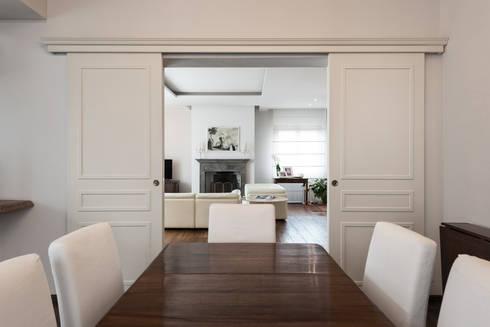 I neutri perfetti di melissa giacchi architetto d 39 interni for Sala pranzo libreria