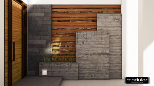 Vestíbulo de Recepción Exterior A224: Jardines de estilo moderno por Modulor Arquitectura