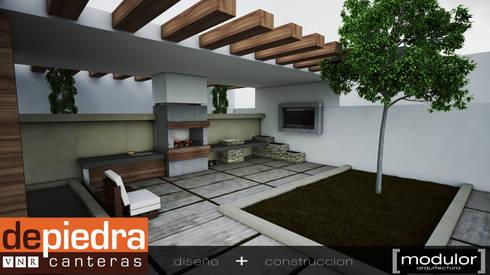Asador Clasico: Jardines de estilo moderno por Modulor Arquitectura