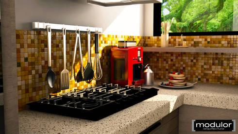 Cocina Pequena: Cocinas de estilo moderno por Modulor Arquitectura