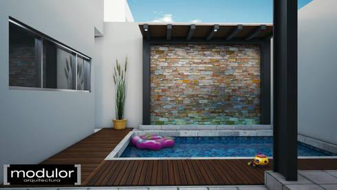 Alberca y Muro Lloron: Albercas de estilo moderno por Modulor Arquitectura