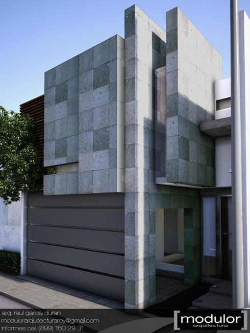Fachada MRios: Casas de estilo moderno por Modulor Arquitectura